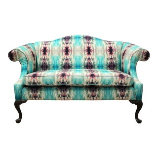 Modern Custom Upholstered Boho Chic Love Seat For Sale