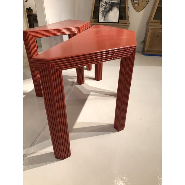 Asian Chinese Red Bamboo Style Console Tables - a Pair For Sale - Image 3 of 13