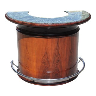 Spectacular French Art Deco Macassar Ebony Semicircle Dry Bar Circa 1940s For Sale