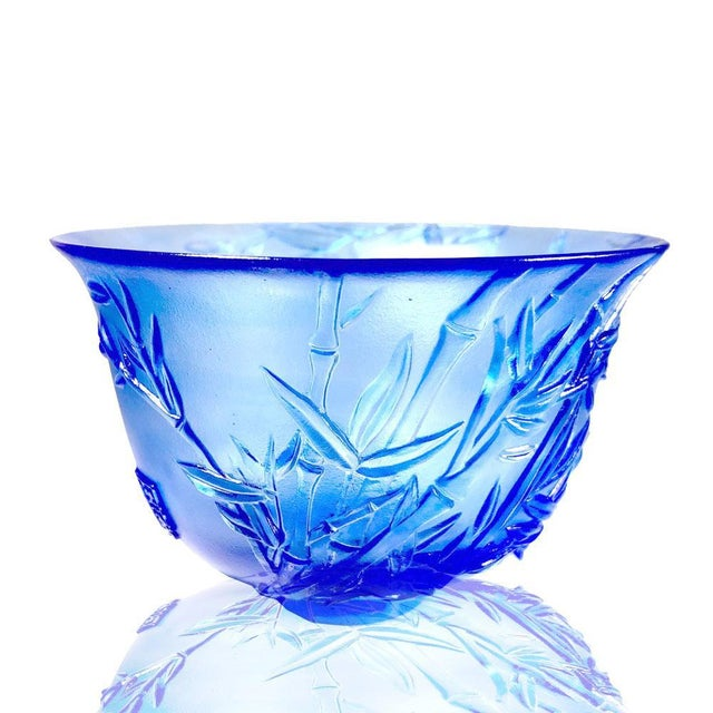 """Contemporary Crystal Limited Edition Bamboo Bowl """"The Green Gentleman"""" in Royal Purple For Sale - Image 3 of 4"""