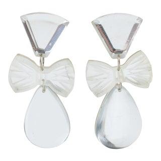 Silver Mirror Lucite Clip Earrings Dangling Bowtie & Tear Drop For Sale