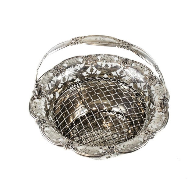 Art Nouveau Tiffany & Co Makers Sterling Silver Flower Basket #16201, John C. Moore For Sale - Image 3 of 8