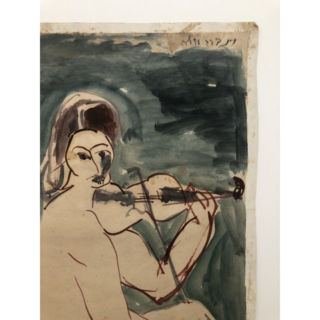 Mid-Century Female Nude With Violin Watercolor 1960s For Sale - Image 4 of 12