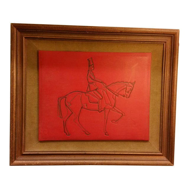 Embossed Leather Horse & Rider Wall Hanging - Image 1 of 6