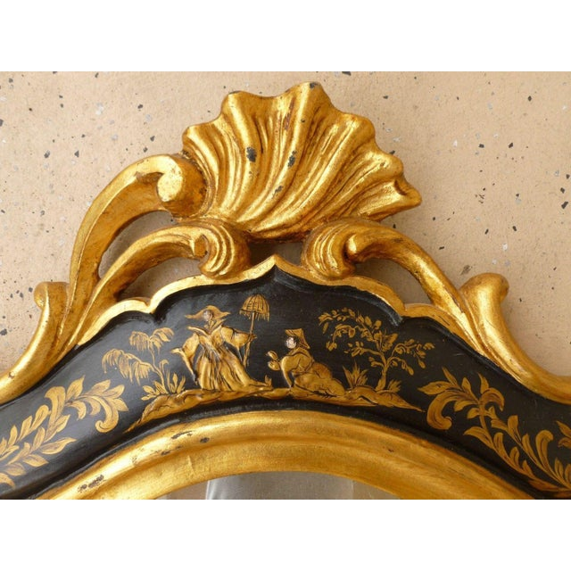 1970s 1970's Vintage Italian Chinoiserie Black Lacquer Gilt Mirror For Sale - Image 5 of 7