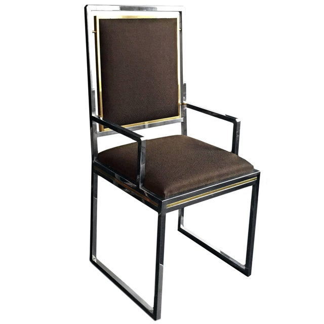 1970's French brass and chrome dining chair with dark chocolate brown textured upholstery. Five available, priced...