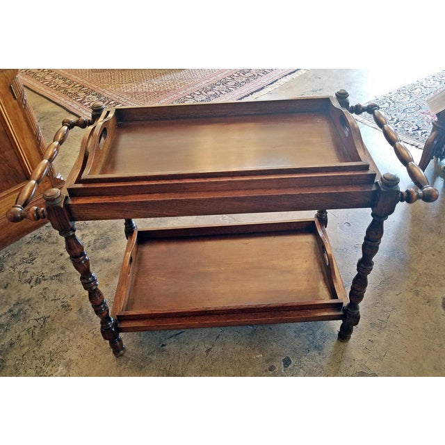 19c British Provincial Oak Butlers Tray Stand With 3 Trays For Sale - Image 12 of 13