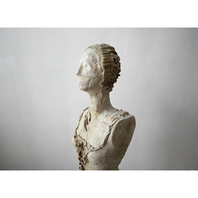 Canvas Antique 1920's French Female Art Dress Form Mannequin on Steel Stand For Sale - Image 7 of 9