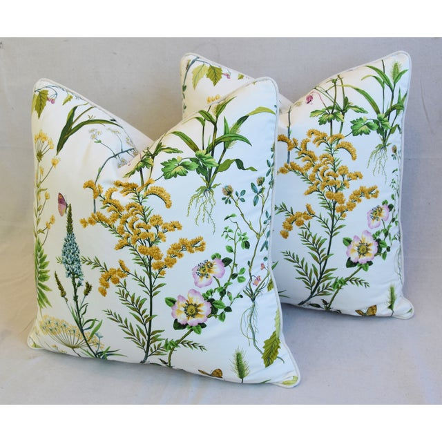 "Blue Wildflower Botanical Cotton & Linen Feather/Down Pillows 24"" Square - Pair For Sale - Image 8 of 13"