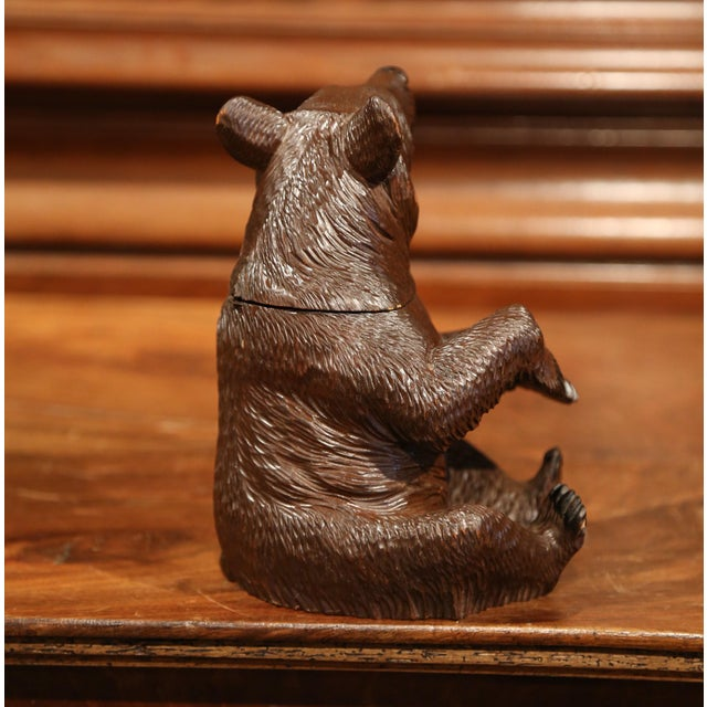 19th Century Swiss Carved Black Forest Tobacco Bear Sculpture With Glass Eyes For Sale In Dallas - Image 6 of 11