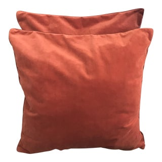 Two Sided Orange Velvet Pillows With Down Filling - a Pair