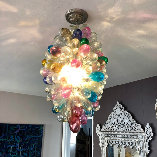 Light Fixture of Stained Colorful Handblown Glass For Sale In Los Angeles - Image 6 of 12