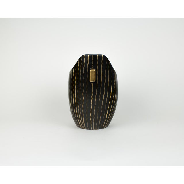 Abstract Mid Century Italian Striped Black and Gold Vase For Sale - Image 3 of 13
