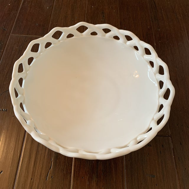 Mid-Century Modern Large Vintage Milk Glass Compote For Sale - Image 3 of 4
