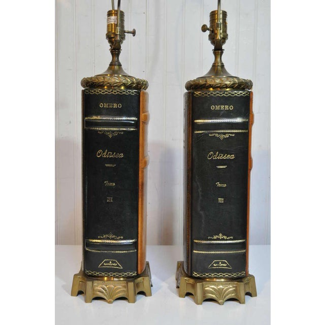 1970s Vintage English Style Brass and Tooled Leather Bound Book Form Table Lamps - a Pair For Sale - Image 5 of 11