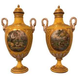 Late 19th Century French Hand-Painted Porcelain Lidded Urns- A Pair For Sale