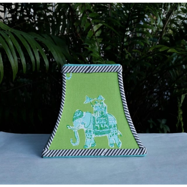 Green Lilly Pulitzer Fabric Clip on Coastal Elephant Lampshade For Sale - Image 9 of 11