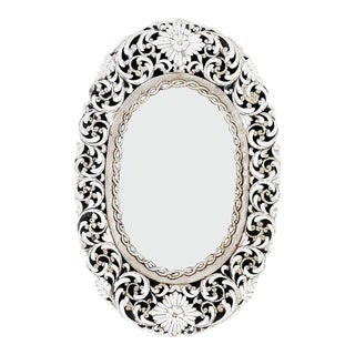 Transitional Oval Handcut Glass Mirror For Sale