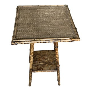 Vintage Asian Antique Tiger Bamboo Wide Table For Sale