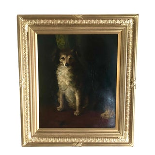 19th Century Antique British Portrait of a Dog Oil on Artist Board Painting For Sale