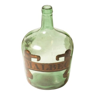 Single Early 20th Century France Green Blown Glass Bottle With Malbec Label For Sale