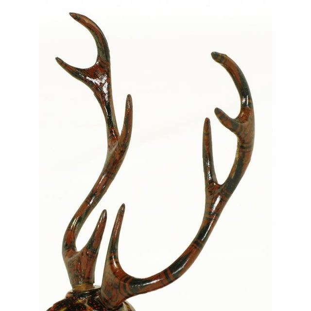Wood Carved Wood Hand Lacquered Recumbent Deer For Sale - Image 7 of 8