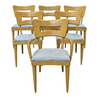 Set of 6 Mid-Century Modern Heywood Wakefield Champagne Dogbone Dining Chairs For Sale