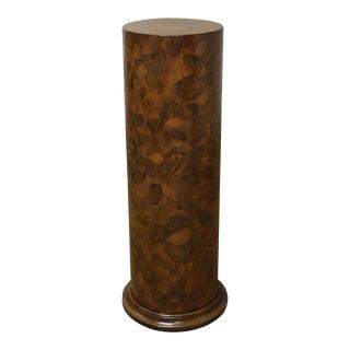 Italian Vintage Patchwork Walnut Round Cylinder Pedestal For Sale