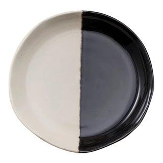 Contemporary Handmade Ceramic Lynn Blate (the perfect bowl+plate) - Noir Blanc For Sale