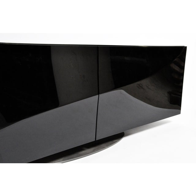 1980s Black Lacquer Console With Sliding Doors For Sale - Image 10 of 13