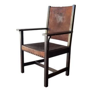 Early 1900s Leopold and John George Stickley Arts & Crafts Leather Chair For Sale