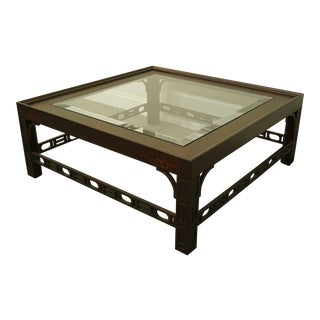 "Contemporary Ej Victor Modern 42"" Square Glass Topped Accent Coffee Table For Sale"