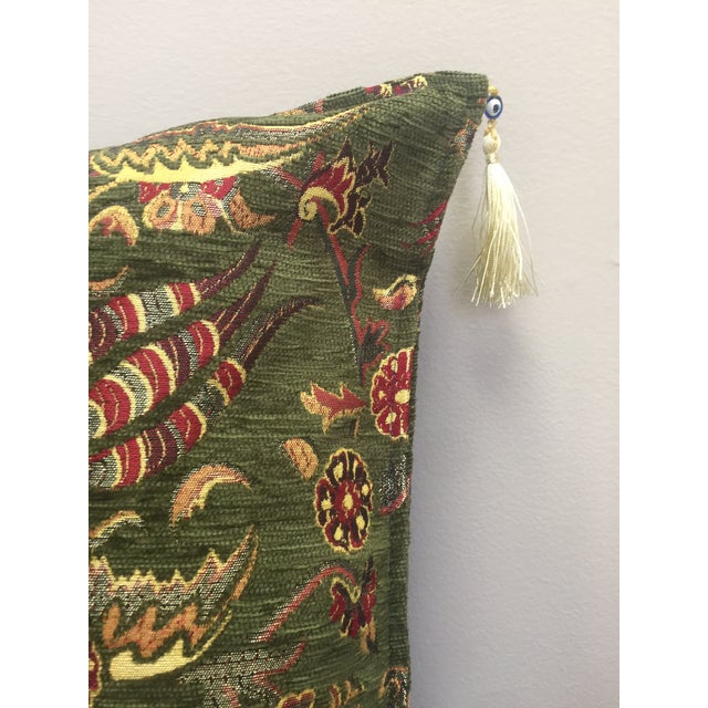 Boho Chic Green Kilim Pillow Cover For Sale - Image 4 of 6