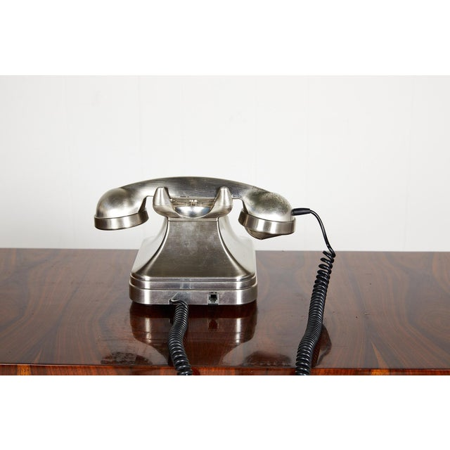 Metal Retro Brushed Nickel Push Button Telephone For Sale - Image 7 of 9