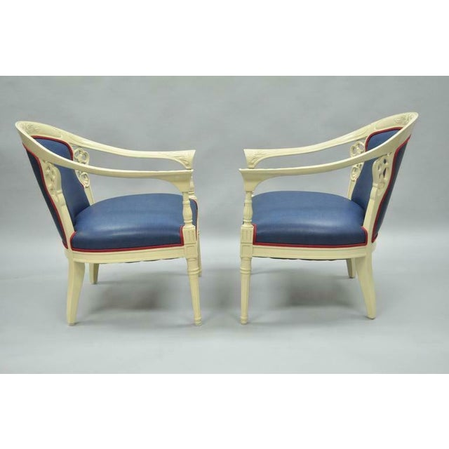 Late 20th Century Cream Lacquered Chinoiserie Blue Barrel Back Lounge Club Arm Chairs - A Pair For Sale - Image 5 of 10
