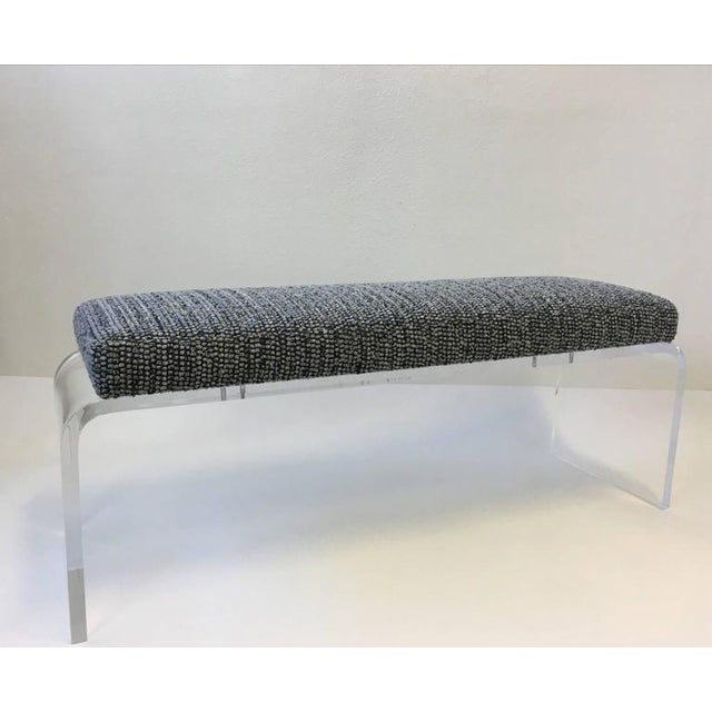 1980s Acrylic and Fabric Waterfall Bench - Image 10 of 10