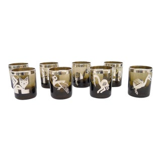 Small Smoke Tumblers Silver Meso-American Design - Set of 8 For Sale
