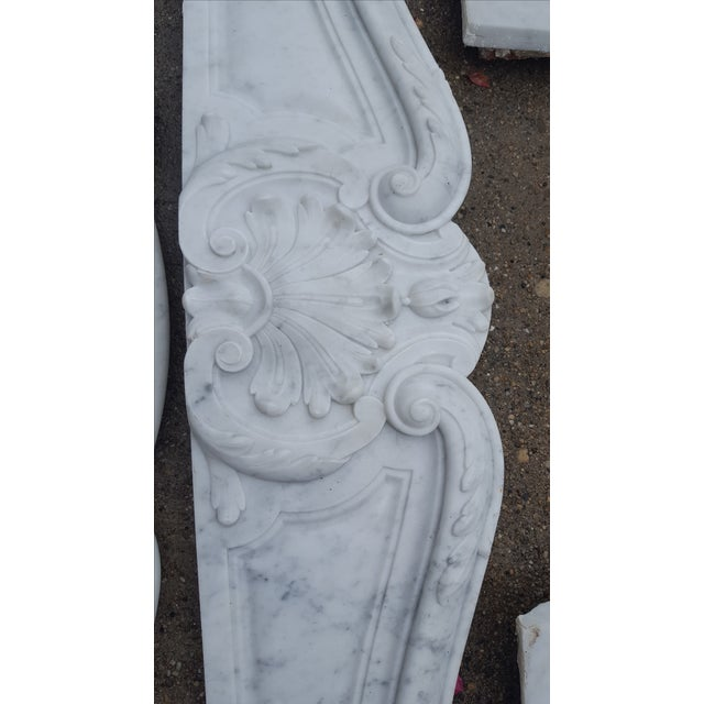 Antique Louis XV Style Carrara Marble Fireplace - Image 4 of 10