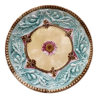 French Majolica Flower Plate Circa 1890 For Sale