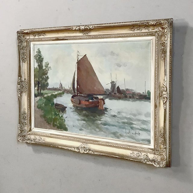 Canvas Antique Framed Oil Painting on Canvas For Sale - Image 7 of 13