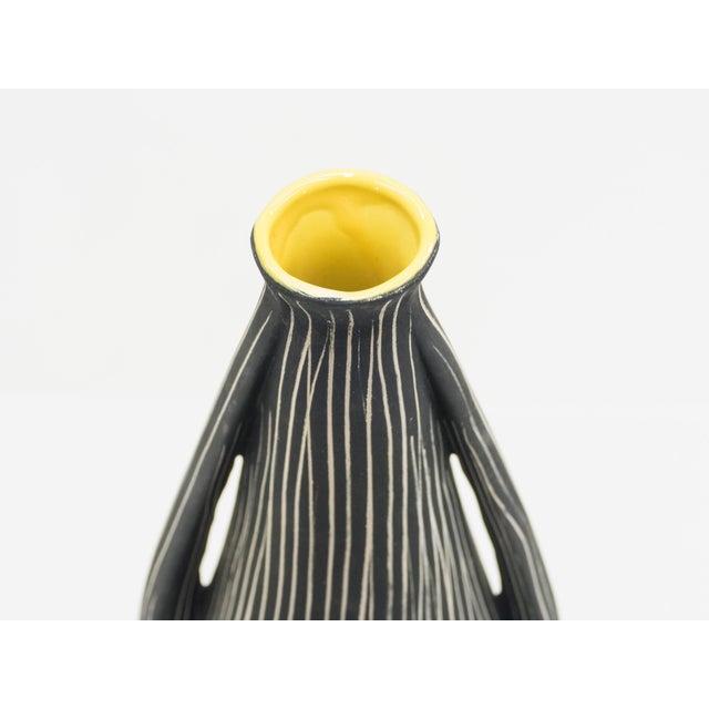 Midcentury Italian Black Yellow Enamel Ceramic Vase, 1960s For Sale - Image 4 of 8