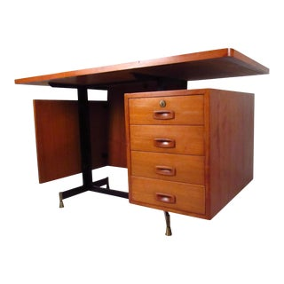 Mid-Century Teak Floating Top Desk For Sale