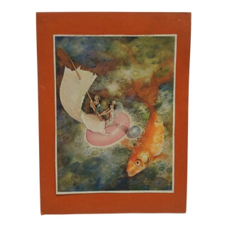 """1930s Vintage """"The Goldfish"""" Tengren Mounted Print For Sale"""