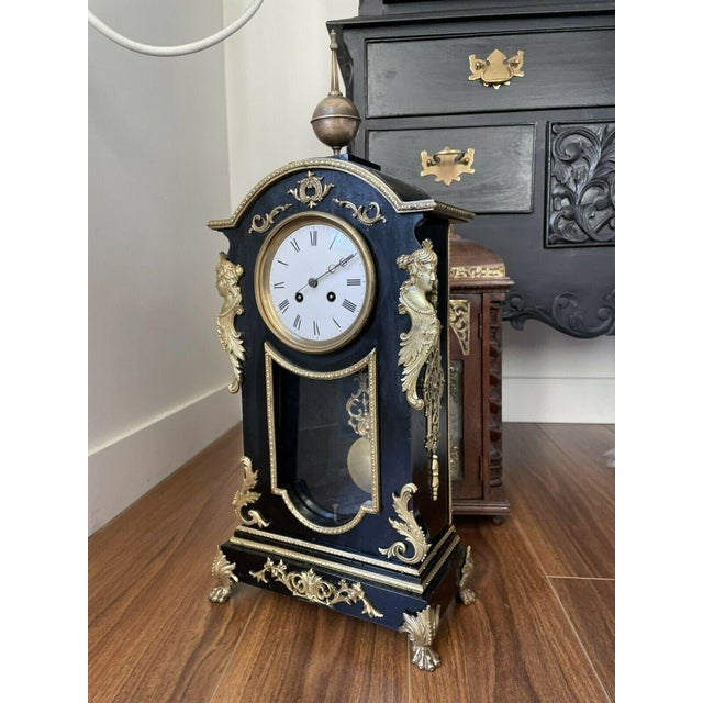 Mid 19th Century Antique Mid 19th Century French Mantel Clock With Case For Sale - Image 5 of 11