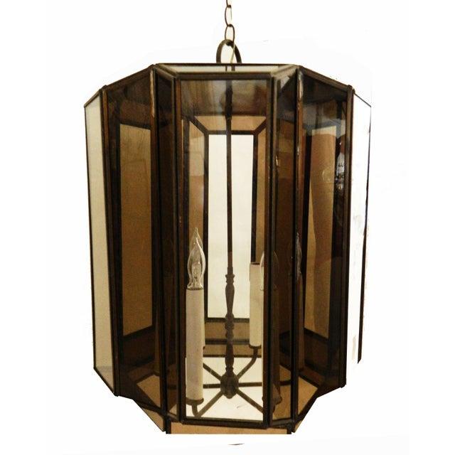 Mid-Century Modern Vintage Brass Hanging Lanterns - Pair For Sale - Image 3 of 8