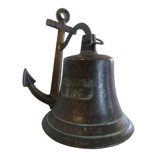 1939 PS Graf Spee Bronze Battleship Hanging Anchor and Bell For Sale