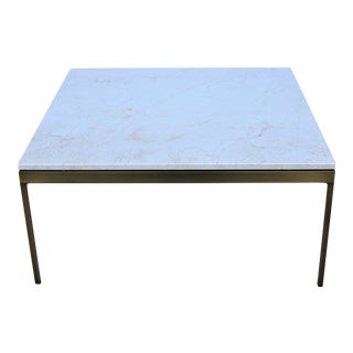 1970s Mid-Century Modern Nicos Zographos Brass and Marble Square Coffee Table For Sale