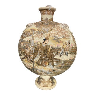 C. 1900 Ceramic Hand Painted Japanese Satsuma Moonflask Vase For Sale