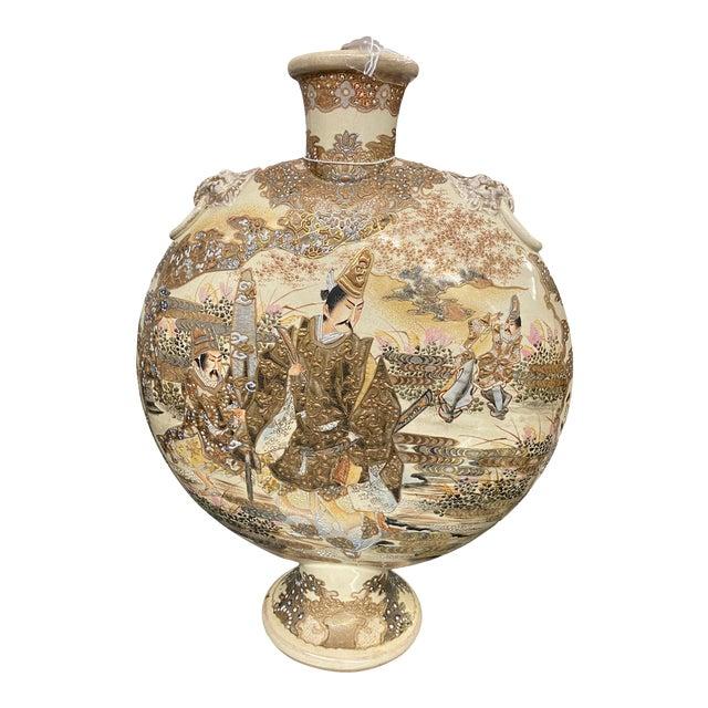 C. 1900 Ceramic Hand Painted Japanese Satsuma Moonflask Vase For Sale