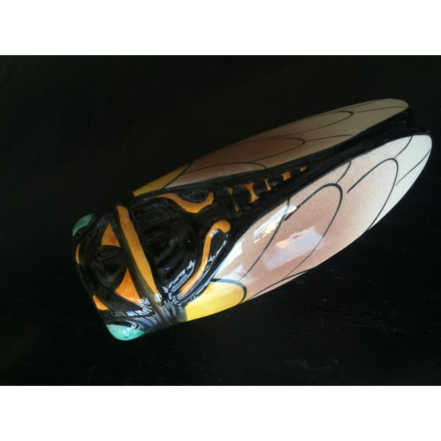 Mid-Century French Majolica Hand-Painted Cicada Wall Pocket For Sale - Image 5 of 5